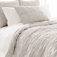 Pine Cone Hill Smocked Dove Grey Duvet Cover @Layla Grayce