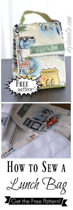 How to sewing an easy lunch bag- get the free pattern! #sewing #sewingpattern #craft