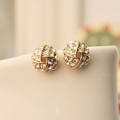 Pair of Exquisite Rhinestone Embellished Women's Openwork Ball Shaped Earrings