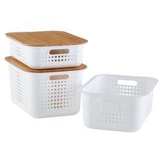 Plastic Bins & Baskets - Plastic Baskets & Storage Bins with Lids & Handles Plastic Bins, Plastic Storage, Plastic Laundry Basket, Plastic Pallets, Medicine Organization, Pantry Organization, Closet Storage Bins, Pantry Ideas, Pantry Storage