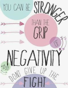 You can be stronger than the grip of negativity Just don't give up the fight | Inspirational Quotes