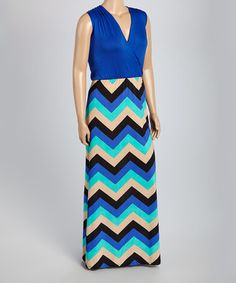 Loving this Royal Blue Chevron Surplice Maxi Dress - Plus on #zulily! #zulilyfinds