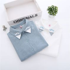 2017 spring new Korean style tops college cute little beard embroidery shirt small fresh new wild loose clothing
