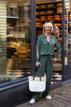 Trousers and top co-ord in green - No Fear of Fashion Co Ord, Trousers, Types Of Fashion Styles, My Outfit, Green, Fashion Beauty, Suits, Lady, My Style