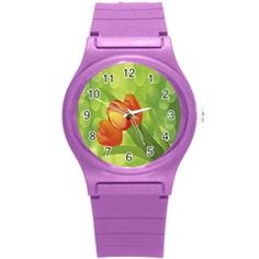 Orange Tulips Round Plastic Sport Watch Small from ArtsNow.com Front