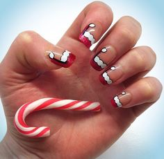 Love these Santa hat nails; deffo on my next nails