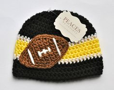 Black, Yellow, & White Football Beanie Hat for Baby from Peaces by Cortney at www.etsy.com/shop/peacesbycortney