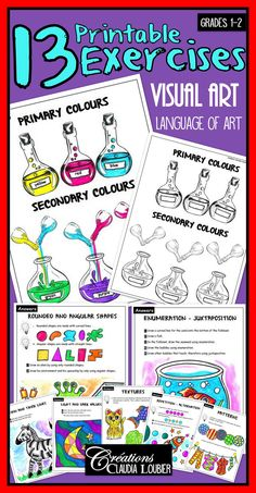 I created these 13 exercises to help with the learning of art terms for Grades 1 and 2.  You can use these exercises to validate their comprehension or to introduce your students to something new.  You will find an exercise and an answer sheet for each of these terms.  - Thick and thin lines - Primary and secondary colours - Rounded and angular shapes - Textures - Patterns - Three dimensional shapes - Light and dark colours - Enumeration and Juxtaposition - Repetition and alternation