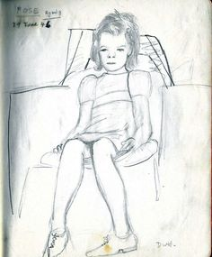 Picture of Rose Donaldson aged 8, drawn in 1946 by Denis Healey at Gypsy Hall Farm