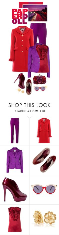 """""""Bold Extravaganza..Purple and Red"""" by shortyluv718 ❤ liked on Polyvore featuring Roland Mouret, Gucci, Moschino Cheap & Chic, Preen, P.A.R.O.S.H., Bling Jewelry and Alexander McQueen"""