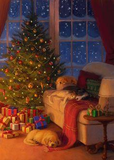 Christmas Scenery, Christmas Mood, Merry Little Christmas, Vintage Christmas Cards, Christmas Wishes, Christmas Pictures, Illustration Noel, Christmas Illustration, Illustrations