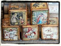 Vintage Inspired Childrens Wooden Storyblocks Nursery Rhymes