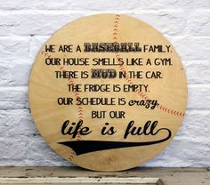 "Baseball Mom Family Sign Baseball Coach Gift ""Life is Full"" printed on wood sign by MadiKayDesigns on Etsy"