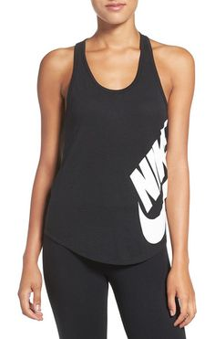 logo racerback tank by Nike. Nike's iconic Swoosh boldly logos the side of this supersoft racerback singlet.