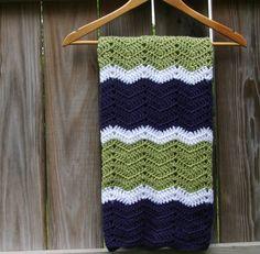 Crochet Baby Blanket Blue, Green, White Afghan. $65.00, via Etsy.