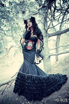 Gothic wedding dress evvening gown red carpet gown by VioGemini, $3500.00