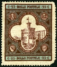 "1894 Scott 29 25c blue & dark brown ""Government Palace"" For the opening of the new Government Palace, and the installation of new Regents, a  three stamp bi-color lithographed issue was released in 1894."