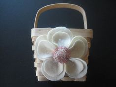 Flower Girl Basket Wedding Pink Ivory 70 flower colors & 44 glass bead colors available by ArtisanFeltStudio on Etsy, $26.00