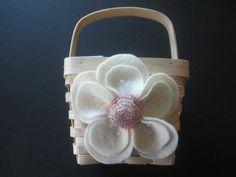 Flower Girl Basket Wedding Pink Ivory poppy flower choose your colors #flowergirlbasket by ArtisanFeltStudio on Etsy, $34.00