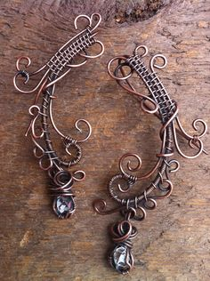 Christmas in July Tribal Swirl Wire Wrapped Copper and Diamond Quartz Earrings