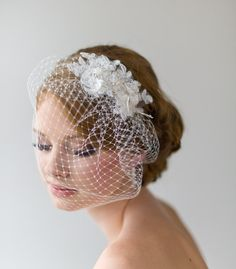 Birdcage Veil, 9 Inch Birdcage Veil, Wedding Veil, Lace Birdcage Veil, Vintage Style Birdcage Veil. $69.00, via Etsy.