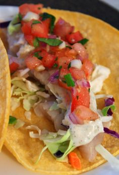 Fish Tacos (with homemade pico de gallo and spicy dill sauce)