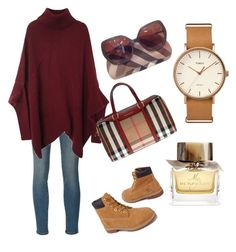 """burberry colors"" by hilorine on Polyvore featuring Timex, Frame Denim, Timberland and Burberry"