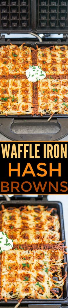 Waffle Iron Hash Browns - The CRISPIEST and BEST hash browns ever!! So EASY, no oil used, not greasy, and you'll never go back to making them any other way!! (Easter brunch idea)