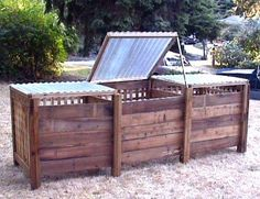 compost bins ~ what a great idea to have corrugated clear poly plastic lids. I need every bit of subshine on the compost! Raised Garden Beds, Raised Beds, Outdoor Projects, Garden Projects, Recycling Containers, Garden Compost, Backyard, Patio, Edible Garden
