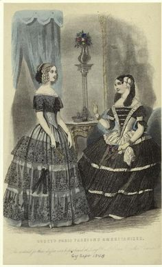 Fashion plate, 1848, Godey's Lady's Book