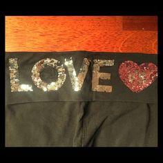 "Victoria's Secret yoga pants XS Black Victoria's Secret yoga pants with ""LOVE VS"" written in silver and pink sequins on back border by waist. Very good condition. Victoria's Secret Pants"