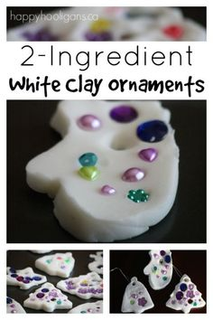 white clay dough ornaments with 2 ingredients plus water