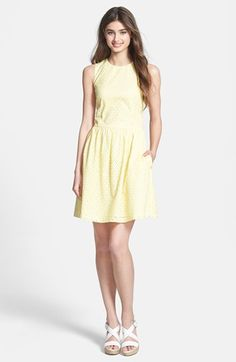 French Connection 'Sunflower' Eyelet Fit & Flare Dress available at #Nordstrom