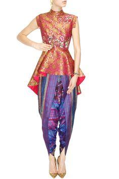 KRISHNA MEHTA Pink brocade peplum kurta with striped dhoti pants