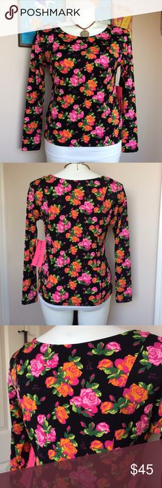 Betsey Johnson Floral Print Top NWT long sleeve Floral print top with mesh shoulder panels TTS Betsey Johnson Tops Blouses