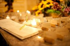Cool wedding place card idea: Use wine corks to hold the place cards for the perfect vineyard twist! Read more on the 1800flowers blog, Petal Talk! #weddingplacecards #fallwedding