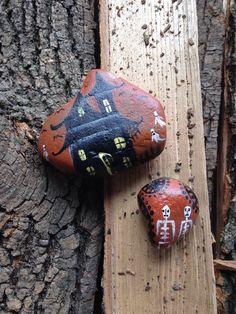 Primitive Halloween Rocks Hand Painted Decor