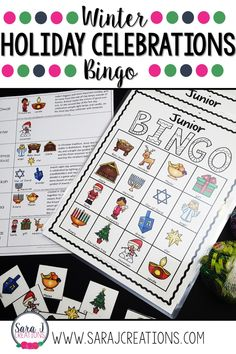 Holiday Celebrations Bingo Holiday Celebrations Bingo includes pictures with words for winter holidays including Christmas, Kwanzaa, Hanukkah, Diwali and winter. Hanukkah Crafts, Hanukkah Decorations, Christmas Window Decorations, Kwanzaa, Christmas Bingo, Christmas Hanukkah, Catholic Kids, Bingo Cards, Word Pictures