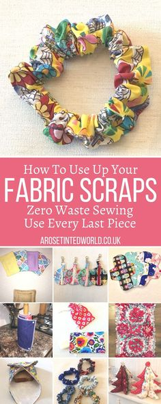 What can I make from Fabric scraps? How to use up all the small remnants of cloth in your scrap bag. Zero waste ways to make great gifts- using up waste fabric and up cycling old cloth to make other things. Ideas of what to make from all the small pieces of fabric left over from other projects #zerowaste #recycled #upcycled #fabricscraps #scrunchies #giftideas #SatinFabric Scrap Fabric Projects, Easy Sewing Projects, Sewing Crafts, Sewing Ideas, Cotton Quilting Fabric, Fabric Scraps, Discount Upholstery Fabric, Fabric Cutter, Sewing To Sell