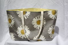 Unique beach bag reversible grey daisy with yellow by GoossensBags