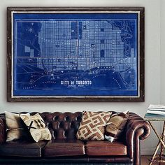 """XXL Map of Toronto, 1857 Old Toronto map in 4 sizes up to 54x36"""" (140x90 cm) Large vintage map of Toronto, Ontario, Canada"""