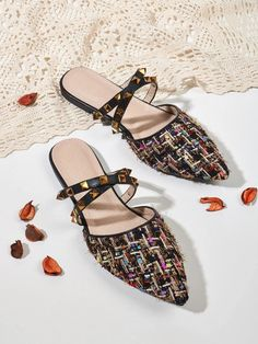 Point Toe Spiked Decor Colorblock Flat Mules | SHEIN UK Flat Mules, Pointed Toe Flats, Color Blocking, Shopping Bag, Slippers, Bags, Shoes, Decor, Fashion
