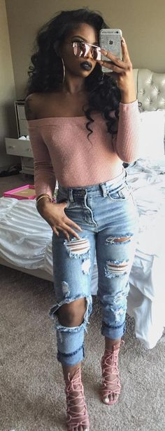 the best way to wear ripped jeans with nude strappy heels