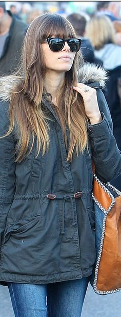 Who made  Jessica Biel's parka coat that she wore in Studio City?