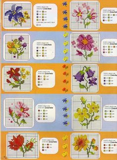Kanaviçe çiçek mini tablo motif