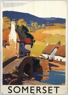 Vintage Railway Travel Poster - Somerset - UK.
