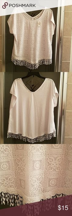 Ladies Blouse White lacefront blouse... casual or can be dressed up paired with the right bottom, shoes & assessories! Cato Tops Blouses