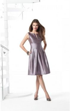 Modest Princess Short Jewel Lavender Satin Dress