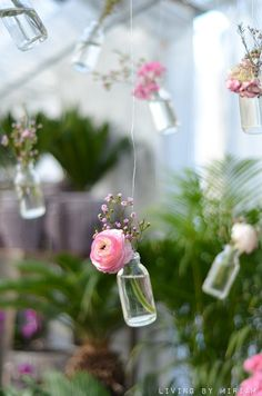 Hanging flowers, mason jars would be cute on tables or something and this could be done super cheaply!