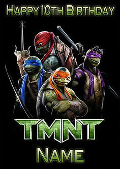 Tmnt turtles film #inspired **personalised birthday #card** any #name/age a5 (t2),  View more on the LINK: http://www.zeppy.io/product/gb/2/321893327447/